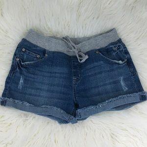 Drawstring jeans shorts